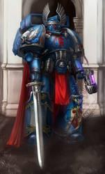 Crimson fist captain by Inkary