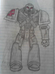 Just a random Space marine DeathWatch drawn(W.I.P) by bloodfang4523