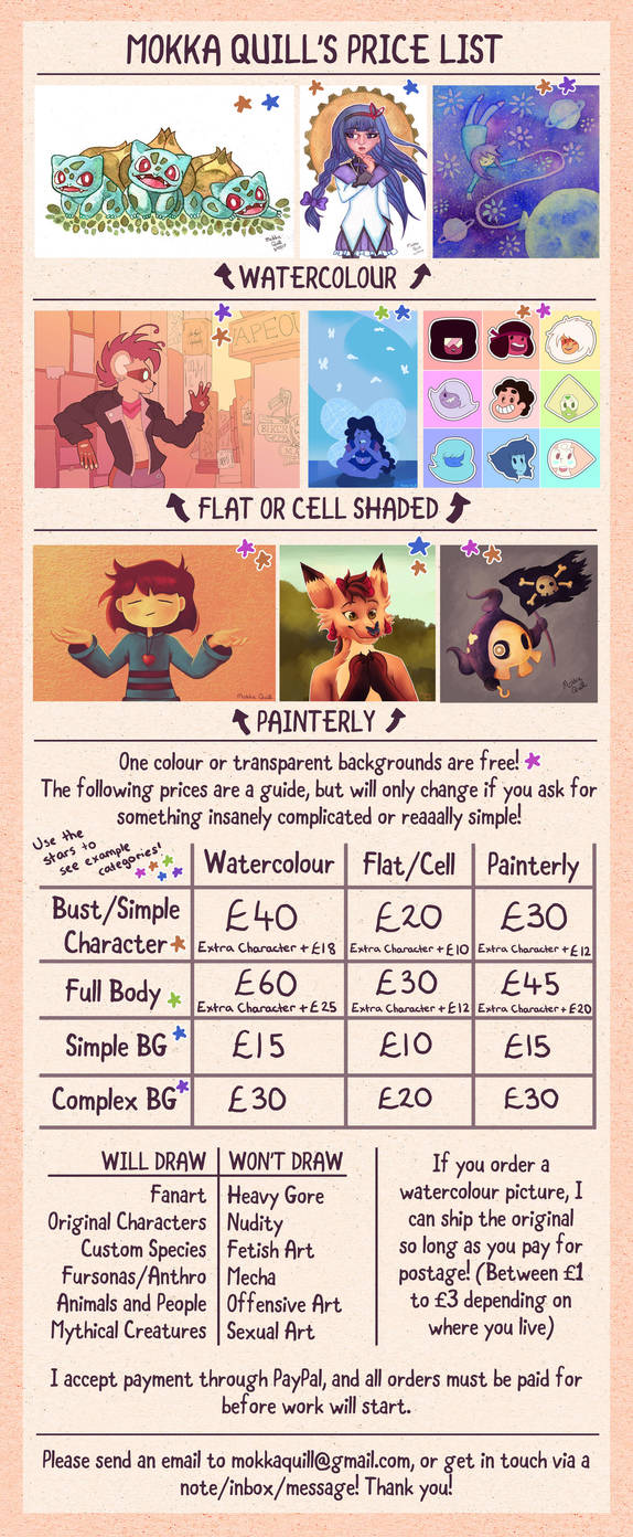 Commission Price List by MokkaQuill