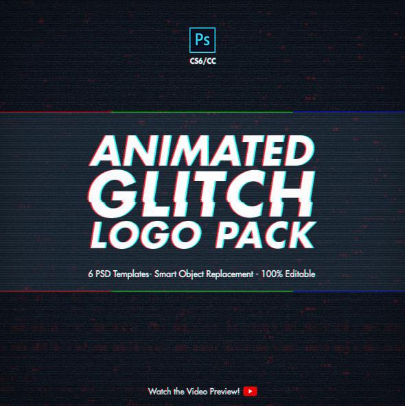 Animated Glitch Logo Pack - Photoshop Templates by NuwanP