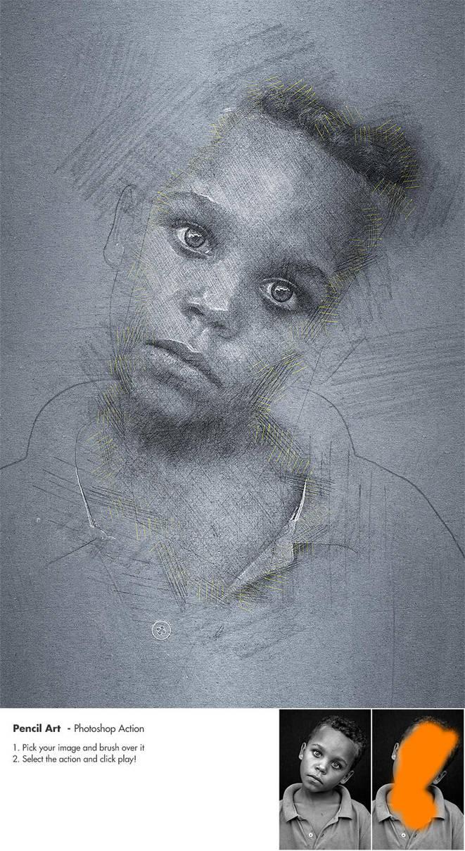 Eyes - Pencil art Photoshop Action by NuwanP