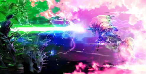 Rainbow Dash MECHA fighting evil in space by unicornMECHA