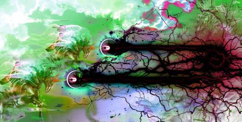 Unicorn MECHA firing corrupted beams of lightning by unicornMECHA