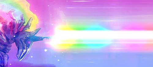 Rainbow Dash MECHA charging RAINBOW BEAM by unicornMECHA