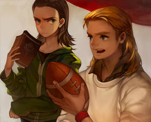 thor and loki fan art by mong1379