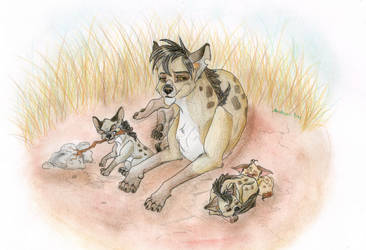 Hyena Family by AnaghaBloodpaw