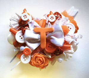 White And Orange heart ''T'' initial brooch by RibbonsandClay