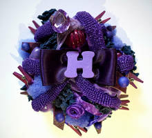 Violet ''H'' initial brooch by RibbonsandClay