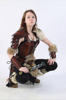 female leather armor barbarian by Lagueuse