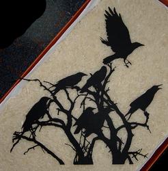 Ravens In Branches Papercut by Carpe-argillum