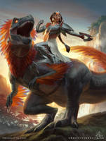 MtG Huatli, Dinosaur Knight by depingo