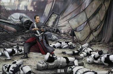 Rogue One Concept Sketch - Chirrut Imwe by Erik-Maell