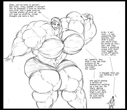 Adventures In Online Dating (muscle giantess) by Saxxon