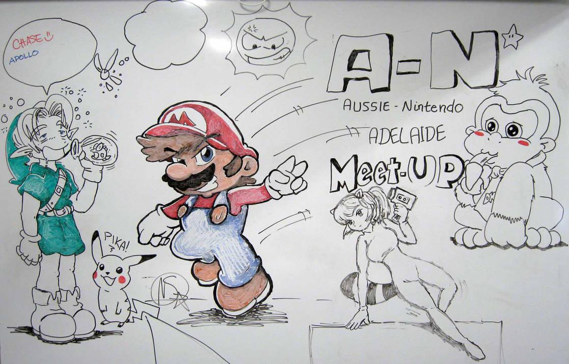 Aussie-Nintendo Adelaide Meetup Whiteboard by Badooleoo