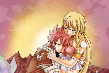 Nalu Dragon cry hug by Karola2712