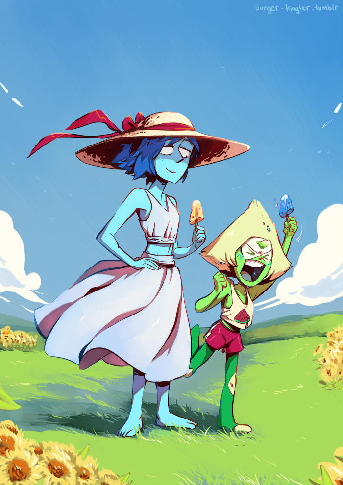 Summer's almost over!!Lapis doesn't really know what to do with a popcicle but at least Peri seems to be enjoying herself