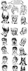 Sketches of Faces of Heroes by jorcerca