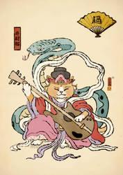 Benzaiten cat by xiaobaosg