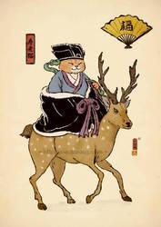 Jurojin Cat by xiaobaosg