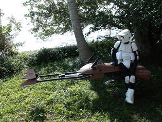 Speeder Bike and Scout Trooper by JohnnyHavoc