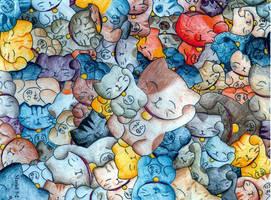 Lucky Cat...Multiply by 100 by myosotis22