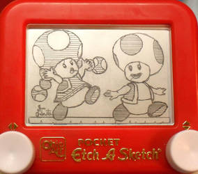 Toad Toadette etch a sketch by pikajane