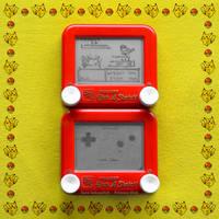 Pokemon Yellow Etch A Sketch Gameboy diptych by pikajane