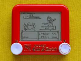 Pokemon yellow Etch A Sketch by pikajane