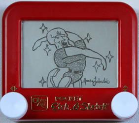 Handsome Squidward Etch a sketch by pikajane