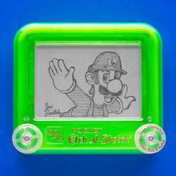 Luigi Etch A Sketch by pikajane