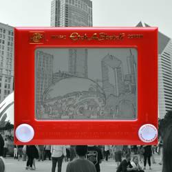 Chicago Bean Etch A Sketch by pikajane