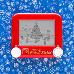 Winter Scene Candy Cane Etch A Sketch by pikajane