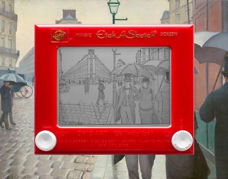 Caillebotte Paris Street, Rainy Day Etch A Sketch by pikajane