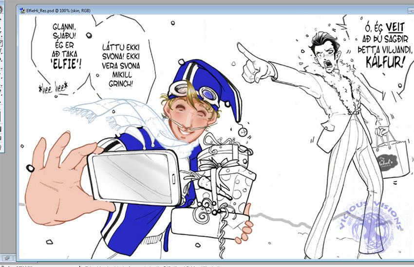 WIP - Coloring Take A Elfie by Shinjuchan