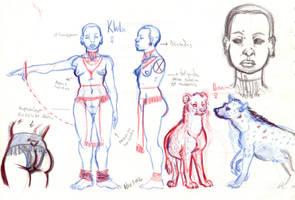 Khila and hyena Sketches by NixTiredBrain