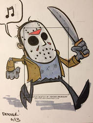 JASON VOORHEES sketchcard by thecheckeredman