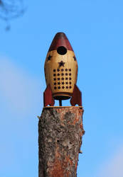 Rocketship Bird House by boogster11