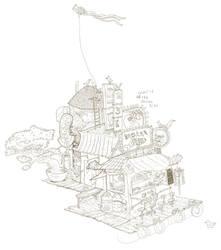 Floating Burger Shack Ink Progress by atomier