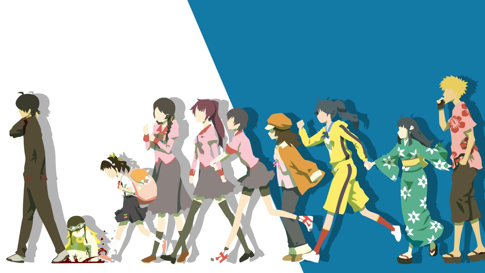 Monogatari Minimalist March of the Oddities by Yuki-Neh