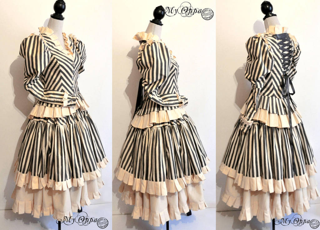 Striped steampunk dress (order) by myoppa-creation
