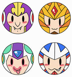 Commission Mega Man Buttons by PapillonthePirate