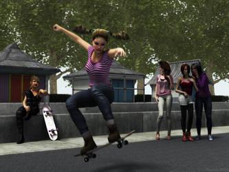Skateboard girls by Edheldil3D