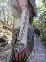 Women's Elvish White Leather Leaf Bracer by ThinkingElvish