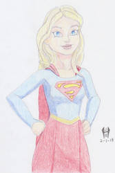 Cartoon Supergirl Colored Pencils by TheGreenCount