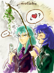 Milo and Camus Mistletoe by ladyhook