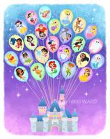 Disney Balloon Castle of Dreams by NikkiWardArt
