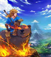 Commission : Link Mounted A Flaming Bear by ForeverMedhok
