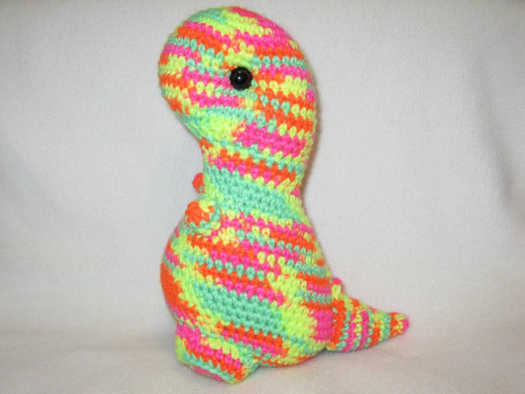 T-rex amigurumi plush - neon multicolored by s0nicfreak