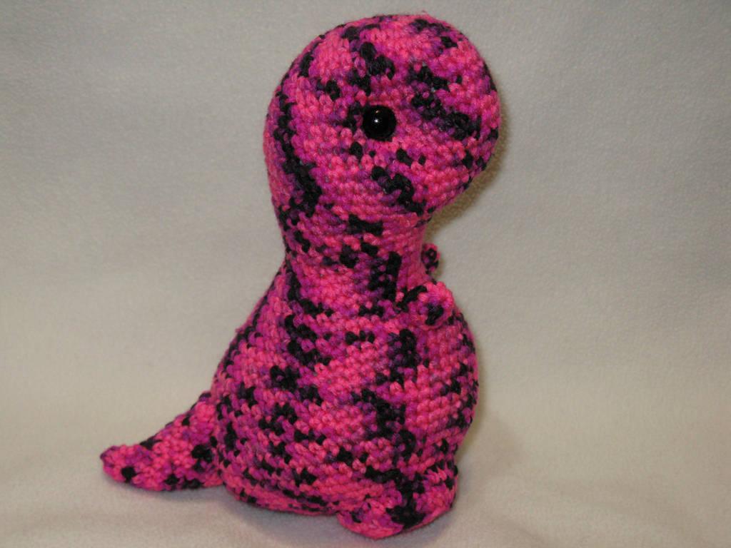 T-rex amigurumi plush - pink and black by s0nicfreak