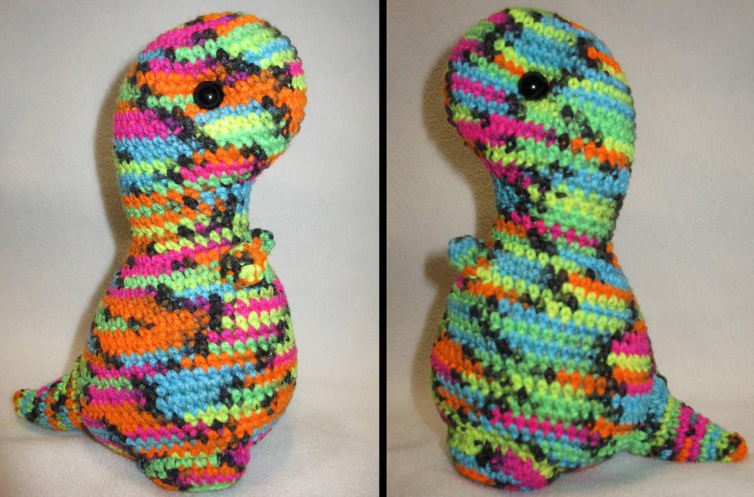 T-rex amigurumi plush - neon multi and black by s0nicfreak